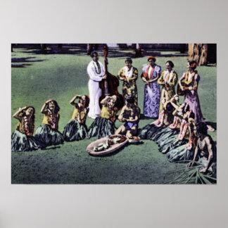 Criadas de Honolulu Hawaii Hula y triturador del P Poster