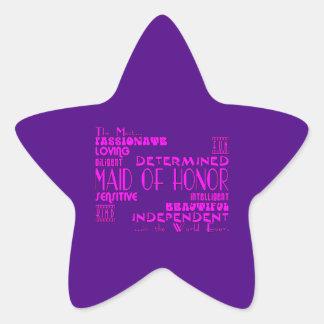 Criadas de los favores de banquete de boda del pegatinas forma de estrellaes personalizadas