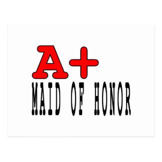 Criadas del honor divertidas: A+ Criada del honor Tarjeta Postal