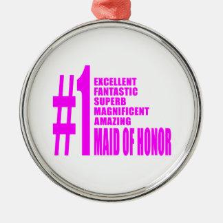 Criadas del honor rosadas: Criada del número uno Adorno Redondo Plateado