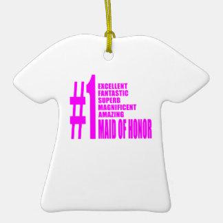 Criadas del honor rosadas: Criada del número uno Adorno De Cerámica En Forma De Playera