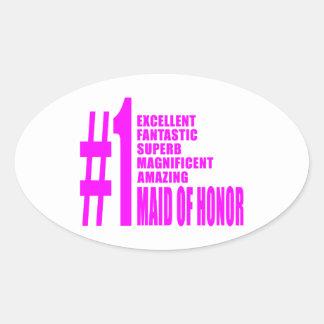 Criadas del honor rosadas: Criada del número uno Pegatina Ovalada