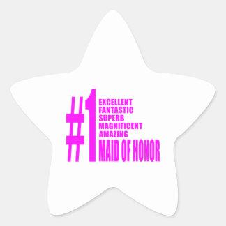 Criadas del honor rosadas: Criada del número uno Pegatina En Forma De Estrella