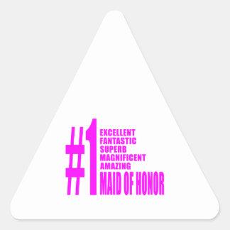 Criadas del honor rosadas: Criada del número uno Pegatina Triangular