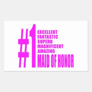 Criadas del honor rosadas: Criada del número uno Pegatina Rectangular