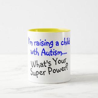 Criando a un niño con autismo cuál es su superpode taza dos tonos