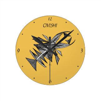 Criatura abstracta negra del mar del diseño #218 reloj redondo mediano