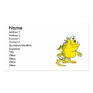 criatura amarilla linda del monstruo del dragón plantilla de tarjeta de visita