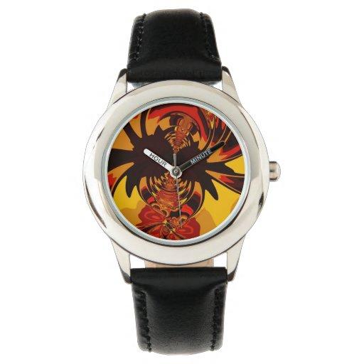 Criatura ambarina y anaranjada feroz, abstracta reloj