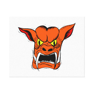 criatura anaranjada del gargoyyle impresion de lienzo