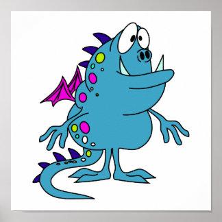 criatura azul linda del monstruo del dragón poster