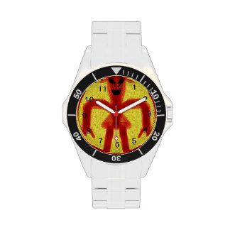 criatura coloreada rojo en fondo amarillo relojes de mano