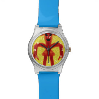 criatura coloreada rojo en fondo amarillo reloj de mano