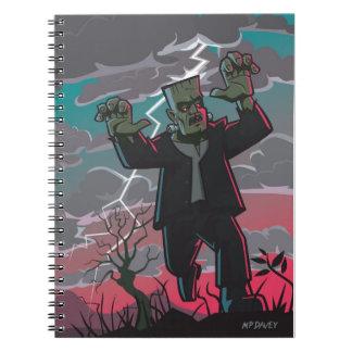 criatura del frankenstein en tormenta libro de apuntes con espiral