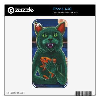 Criatura del gato de la laguna negra iPhone 4 calcomanía