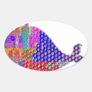 Criatura del mar de los pescados de la BALLENA Pegatina Ovalada