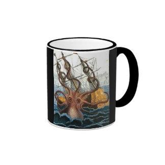 Criatura del mar del pulpo de Steampunk Kraken del Taza De Dos Colores