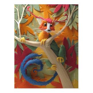 Criatura en la postal de los árboles