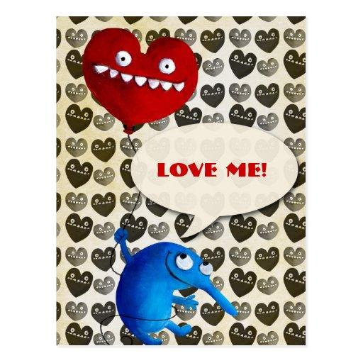 Criatura linda azul con el globo del corazón tarjetas postales