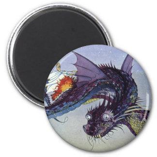 Criatura mítica del dragón de vuelo del vintage imán