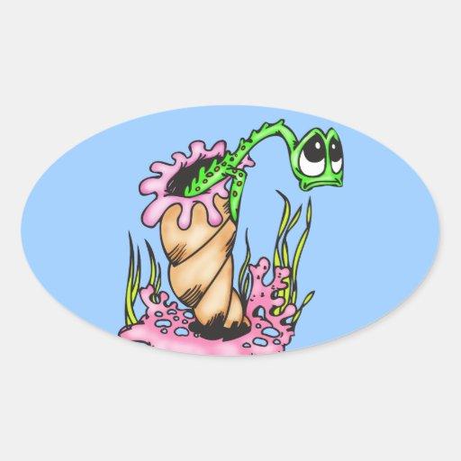 Criatura triste del mar pegatina ovalada