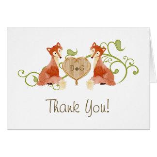 Criaturas animales del arbolado, bodas de las tarjeta de felicitación