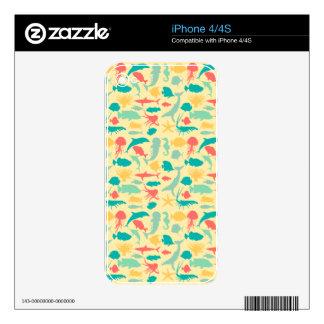 Criaturas coloridas del mar calcomanías para el iPhone 4S