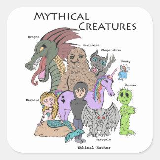 Criaturas míticas - pirata informático ético - pegatina cuadradas