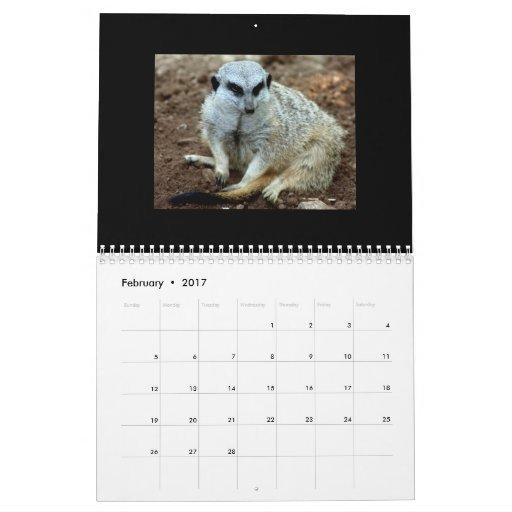 Criaturas salvajes grandes y pequeño calendario
