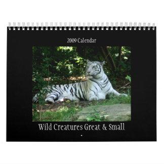 Criaturas salvajes grandes y pequeño calendario 20