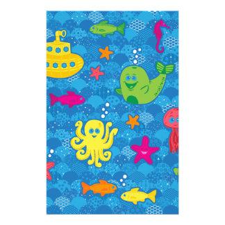 Criaturas tontas del mar personalized stationery