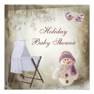 Crib & Pink Snowman Holiday Baby Shower Announcements