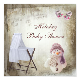 Crib & Pink Snowman Holiday Baby Shower Invitation