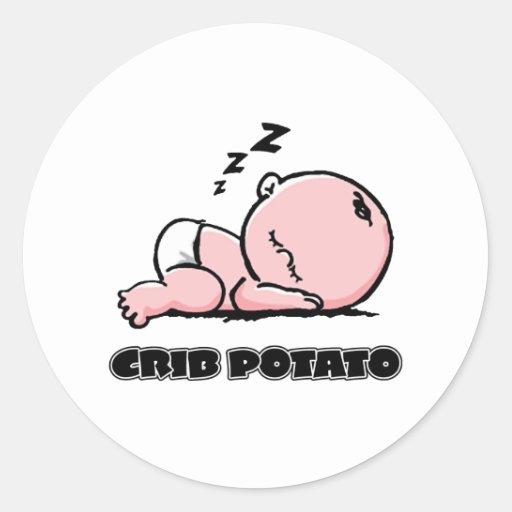 Crib Potato- Small Sleeping Baby Round Sticker