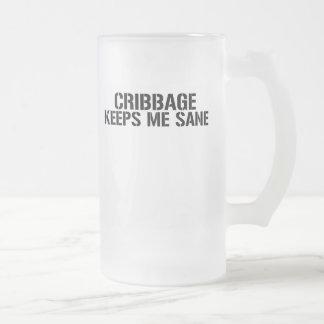 Cribbage Keeps Me Sane 16 Oz Frosted Glass Beer Mug