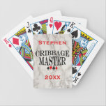 "Cribbage Master Personalized Bicycle Playing Cards<br><div class=""desc"">Cribbage master black text with black and red playing card suit symbols set on classic faux white marble. For your favorite cribbage player. Use the templates to personalize with your name or message and year.</div>"