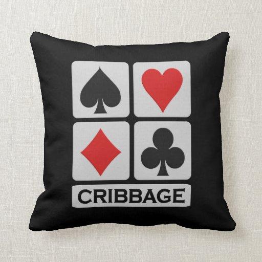 Cribbage player throw pillow