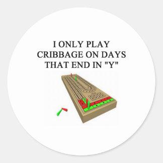 cribbage players classic round sticker