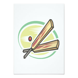 Cricket Ball And Bat 5x7 Paper Invitation Card