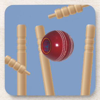 Cricket Ball And Stumps, Beverage Coaster