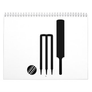Cricket ball bat stumps wall calendar
