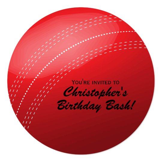 Cricket Ball Birthday Party Invitation Zazzle Com