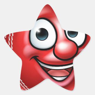 Cricket Ball Mascot Star Sticker