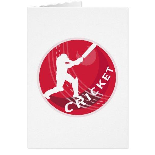 cricket batsman silhouette batting ball greeting card
