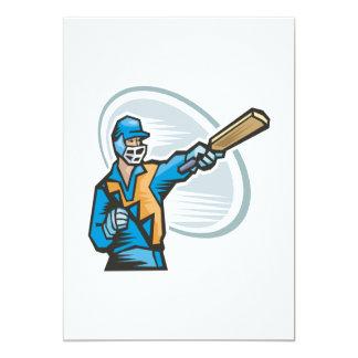 Cricket Batter 2 5x7 Paper Invitation Card
