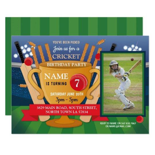 Cricket Birthday Photo Party Girl Boy Sports Theme Invitation
