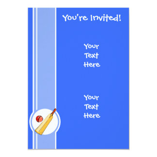 Cricket; blue 5x7 paper invitation card