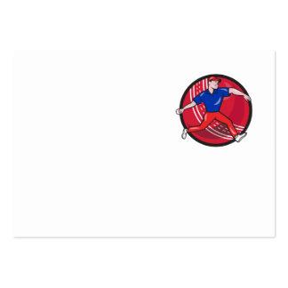 Cricket Bowler Bowling Ball Cartoon Business Card Template