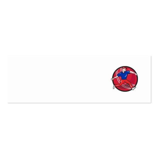 Cricket Bowler Bowling Ball Cartoon Business Card Templates