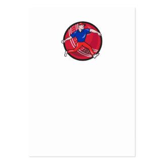 Cricket Bowler Bowling Ball Cartoon Business Cards